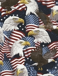 Timeless Treasures C5566 Patriotic Eagles