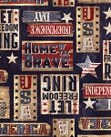 Timeless Treasures C7996 Navy Patriotic Signs