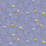 Dark Periwinkle Daisy & Mouse 2654 86, Clothworks