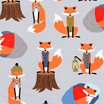 Campsite Critters Flannel 17622 279 Fox Grey, Robert Kaufman