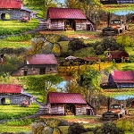 Multi Barn Scenery Digital  AL33997CW1, David Textiles