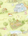 Cotton Tale Farm Flannel CF5823 Green Farm, Timeless Treasures