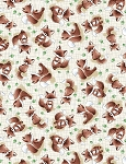 Forest Friends C6722 Taupe Tossed Fox, Timeless Treasures