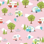 Glamperlicious Flannel F7152 Pink Campers, Riley Blake