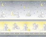 Bunnies C6452 Grey Bunny Stripe, Timeless Treasures