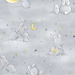 Bunnies Flannel CF6453 Grey Bunnies and Moons, Timeless Treasures