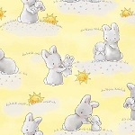 Bunnies Flannel CF6454 Yellow Bunnies and Moons, Timeless Treasures
