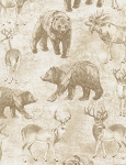 Wildlife Toile C4804 Cream, Timeless Treasures
