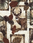 Deer, Bear, Moose Patch Flannel CF4802 Cream, Timeless Treasures