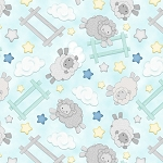 Sleepy Bear Flannel F1436 11 Sheep Jumping Aqua, Henry Glass
