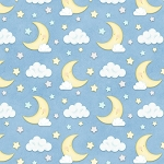Sleepy Bear Flannel F1437 11 Moon and Clouds Blue, Henry Glass