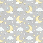 Sleepy Bear Flannel F1437 90 Moon and Clouds Grey, Henry Glass