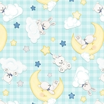 Sleepy Bear Flannel F1439 11 Tossed Animals Aqua, Henry Glass