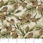 Algonquin Flannel F22553 12 Pinecones, Northcott