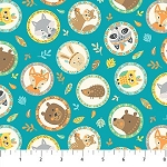 Teepee Time Flannel F31353 63 Aqua Circle Animals, Northcott