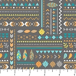 Teepee Time Flannel F31356 95 Grey Symbols, Northcott
