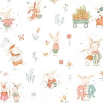 Bunny Tales Flannel 3551 12 White Bunnies, Studio E