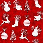 Holiday Frost Flannel F6518 88 Red Stocking Ornament, Jan Shade Beach by Henry Glass