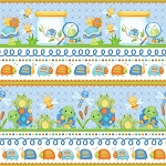 Cuddle Bug Flannel F6695 11 Blue Border, Henry Glass