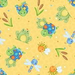 Cuddle Bug Flannel F6697 44 Yellow Tossed Turtles, Henry Glass