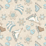 I Still Love Snow Flannel F6796 40 Mitten Skates Cream, Henry Glass