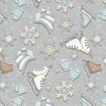 I Still Love Snow Flannel F6796 90 Mitten Skates Grey, Henry Glass