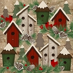 Woodland Retreat Flannel F6803 63 Birdhouses, Henry Glass
