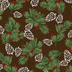 Woodland Retreat Flannel F6809 63 Pinecones, Henry Glass