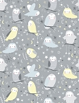 Whimsical Owls Flannel CF6288 Stone, Timeless Treasures