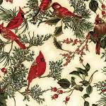 Cardinals on Branches H8821 20G Natural Gold, Hoffman