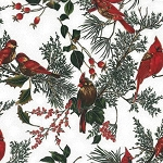 Cardinals on Branches H8821 521S Mist with Silver, Hoffman