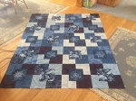 MN Charms Hoffman Batik Hockey N2877 19 Navy Lake Superior Quilt Kit