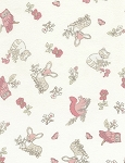 Doe, A Deer Flannel CF4677 Cream Tossed Woodland Animals, Timeless Treasures