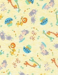 Baby Noah's Ark Tossed Baby Animals Flannel CF6575 Yellow, Timeless Treasures