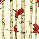 Cardinals in Trees L7625 20G Gold Tan, Hoffman
