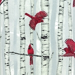 Cardinals in Trees L7325 483S Silver White, Hoffman