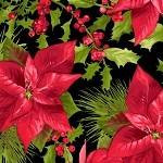 Poinsettia and Pine 9120 J Mixed Large Floral, Maywood Studio