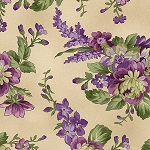 Aubergine 9152 T Floral Bouquets Tan, Maywood Studio