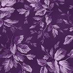 Aubergine 9154 V2 Tonal Leaves Violet Blue, Maywood Studio