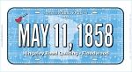 May 11 1858 Row by Row 2018 License Plate