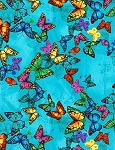 Butterflies C6325 Blue Floating Butterflies, Chong a Hwang by Timeless Treasures