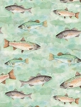 At The Lodge 43879 409 Flannel Light Green Fish, Wilmington Prints