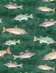 At The Lodge 43879 499 Flannel Dark Green Fish, Wilmington Prints