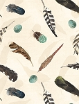 At The Lodge 43880 194 Flannel Cream Feathers, Wilmington Prints