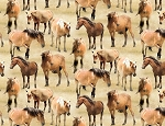 Greener Pastures 82492 221 Tan Allover Horses, Wilmington Prints