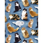 Feline Fine 80154 491 Allover Cats Blue, Wilmington Prints