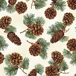Pinecones Metallic Q7626 20G Natural with Gold, Hoffman