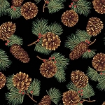 Pinecones Metallic Q7626 4G Black with Gold, Hoffman