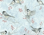 It's Cold Outside Metallic Q7646 190S Ice Blue Birds, Hoffman