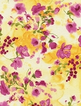 Rosa Pink Watercolor Floral C4380 Yellow, Timeless Treasures